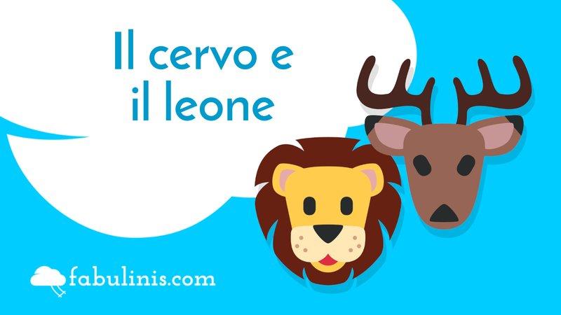 """cover della favola di Esopo """"il cervo e il leone"""""""