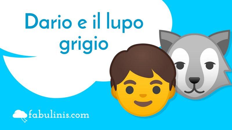 """cover della favola per bambini """"Dario e il lupo grigio"""""""